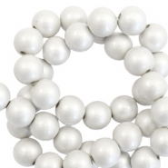 8 mm acrylic beads matt Silver-Pearl Coating