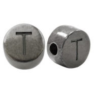 DQ European metal letter beads T Silver Anthracite (nickel free)
