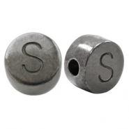 DQ European metal letter beads S Silver Anthracite (nickel free)