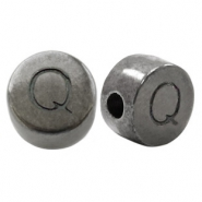 DQ European metal letter beads Q Silver Anthracite (nickel free)