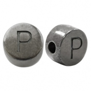 DQ European metal letter beads P Silver Anthracite (nickel free)
