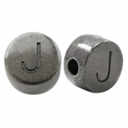 DQ European metal letter beads J Silver Anthracite (nickel free)