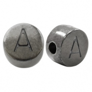 DQ European metal letter beads A Silver Anthracite (nickel free)