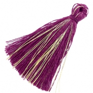 Tassels basic goldline 3cm Aubergine Purple