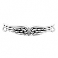 DQ European metal charms connector wings Antique Silver (nickel free)