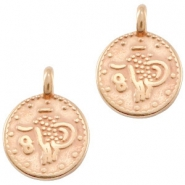 DQ European metal charms ethnic 12mm round Rose Gold (nickel free)