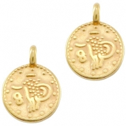 DQ European metal charms ethnic 12mm round Gold (nickel free)