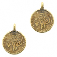 DQ European metal charms ethnic 12mm round Antique Bronze (nickel free)
