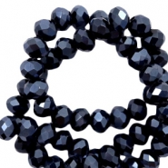 Top faceted beads 6x4mm disc Black Hematite-Pearl High Shine Coating