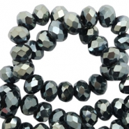 Top faceted beads 4x3mm disc Black-Amber Coating