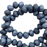 Top faceted beads 8x6mm disc Anthracite Blue