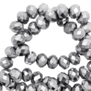 Top faceted beads 4x3mm disc Silver-Amber Coating