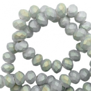 Top faceted beads 4x3mm disc Frosted Light Grey-Half Diamond Coating