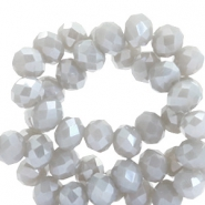 Top faceted beads 4x3mm disc Light Grey-Pearl Shine Coating