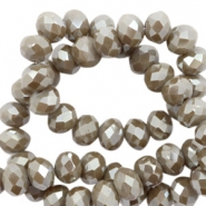 Top faceted beads 6x4mm disc Taupe Grey-Amber Coating