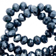Top faceted beads 6x4mm disc Patriot Blue-Pearl Shine Coating
