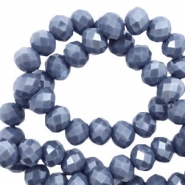 Top faceted beads 6x4mm disc Light Denim Blue-Pearl Shine Coating
