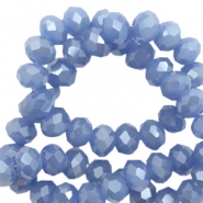 Top faceted beads 8x6mm disc Supreme Blue-Pearl Shine Coating