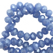 Top faceted beads 6x4mm disc Supreme Blue-Pearl Shine Coating