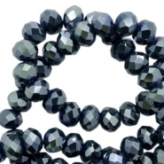 Top faceted beads 8x6mm disc Petrol-Pearl Shine Coating