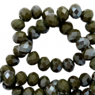 Top faceted beads 8x6mm disc Dark Army Green-Amber Coating
