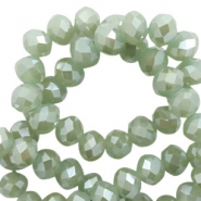 Top faceted beads 8x6mm disc Dark Khaki Green-Pearl Shine Coating