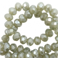 Top faceted beads 6x4mm disc Olive Green-Pearl Shine Coating