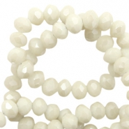 Top faceted beads 4x3mm disc Light Ginger Beige-Pearl Shine Coating
