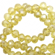 Top faceted beads 8x6mm disc Light Yellow-Pearl Shine Coating
