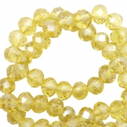 Top faceted beads 4x3mm disc Light Yellow-Pearl Shine Coating