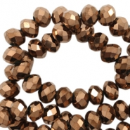 Top faceted beads 6x4mm disc Copper-Amber Coating