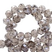 Top faceted beads 8x6mm disc Greige-Pearl Shine Coating