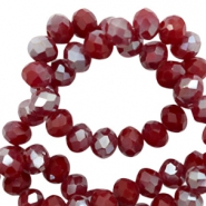 Top faceted beads 8x6mm disc Rumba Red Silver-Pearl Shine Coating