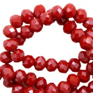 Top faceted beads 6x4mm disc Siam Red-Pearl Shine Coating