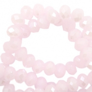 Top faceted beads 6x4mm disc Light Pink-Pearl Shine Coating