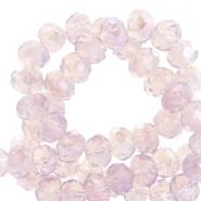 Top faceted beads 8x6mm disc Lavender Lila-Pearl Shine Coating