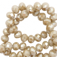 Top faceted beads 4x3mm disc Beige Grey-Amber Coating