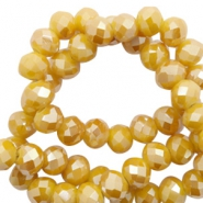 Top faceted beads 8x6mm disc Warm Yellow Gold-Pearl Shine Coating