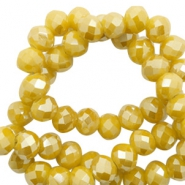 Top faceted beads 4x3mm disc Mustard Yellow-Pearl Shine Coating