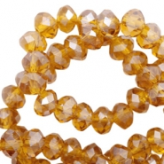 Top faceted beads 8x6mm disc Topaz-Pearl Shine Coating