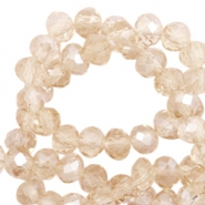 Top faceted beads 6x4mm disc Champagne-Pearl Shine Coating