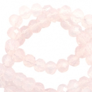 Top faceted beads 8x6mm disc Light Rose Pink-Pearl Shine Coating