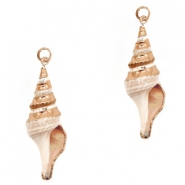Shell bead specials Whelk Beige-Rose Gold