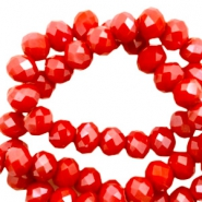 Top faceted beads 4x3mm disc Bright Red-Top Shine Coating