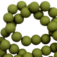 6 mm acrylic beads matt Olive Green