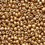 Glass seed beads 12/0 (2mm) Almond Gold Metallic