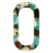 Resin pedants oblong oval 56X30mm Turquoise-Brown