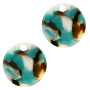 Resin pedants 19mm round Turquoise-Brown