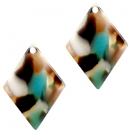 Resin pedants 20X14mm rhombus Turquoise-Brown