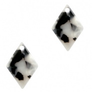 Resin pedants 15x10mm rhombus Black-White